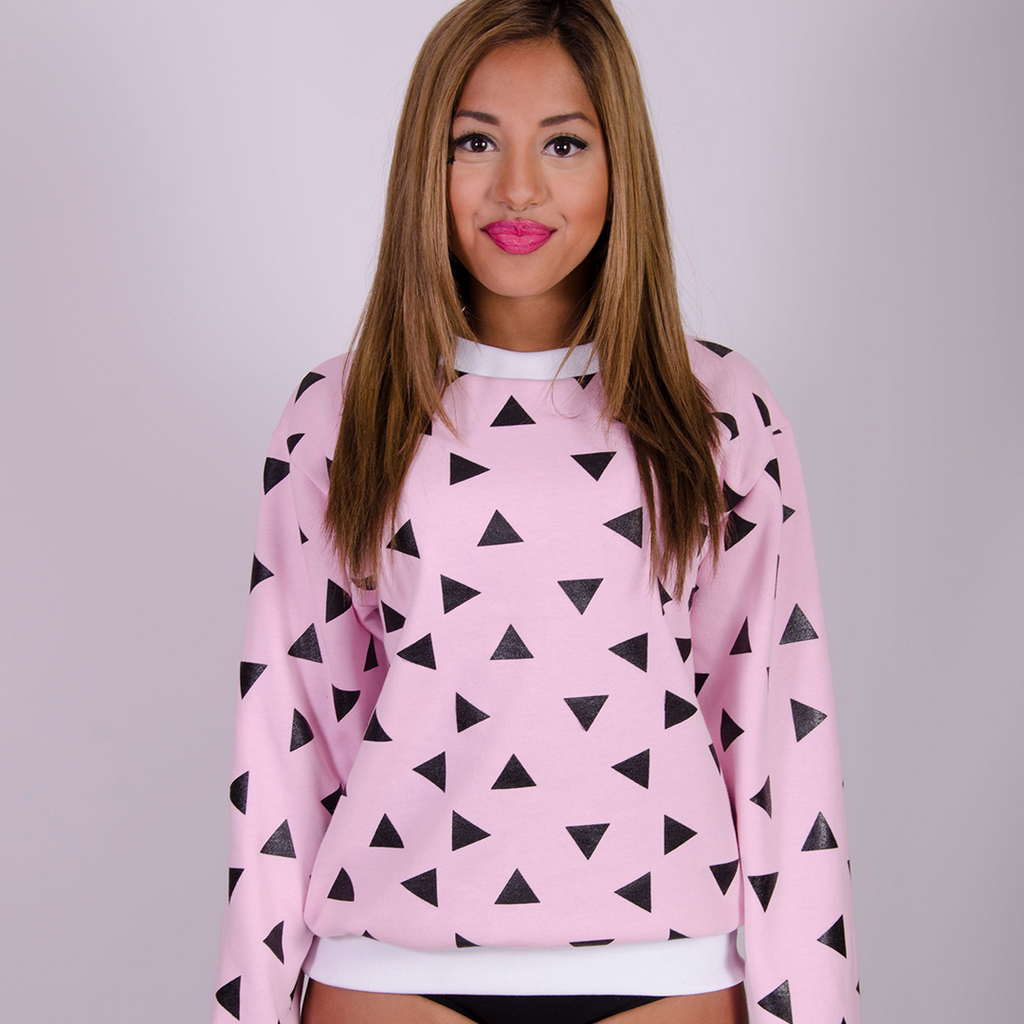 Triangle Sweatshirt Seconds - Pink and Black