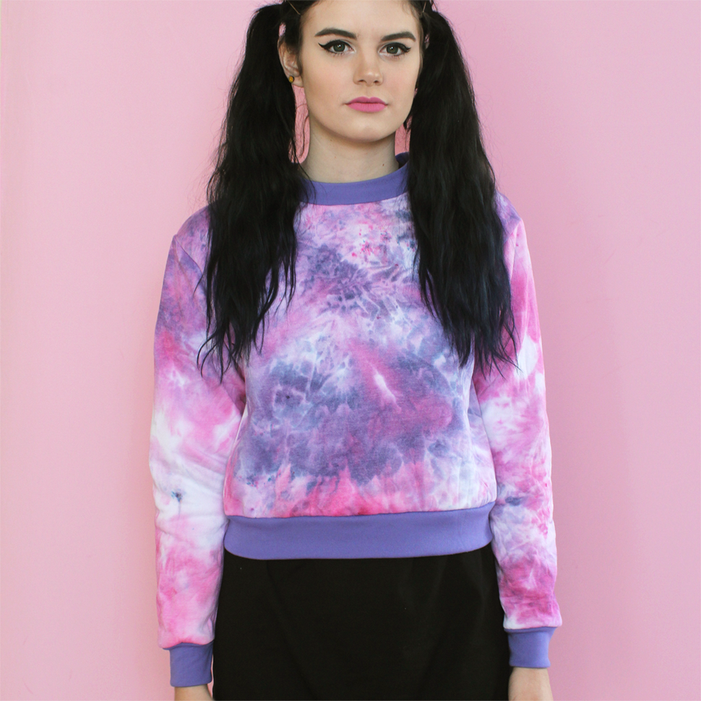 Ice Dye Sweatshirt - Pink/Purple
