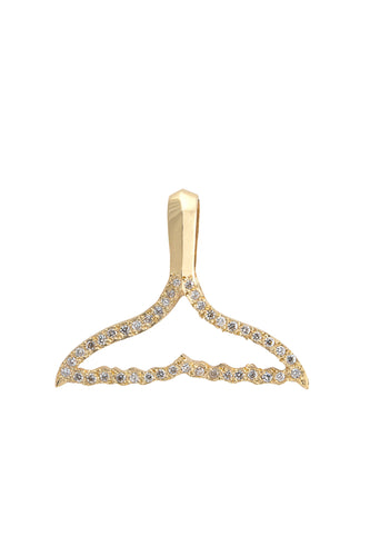 14K Gold Open Whale Tail Pendant with White Diamonds