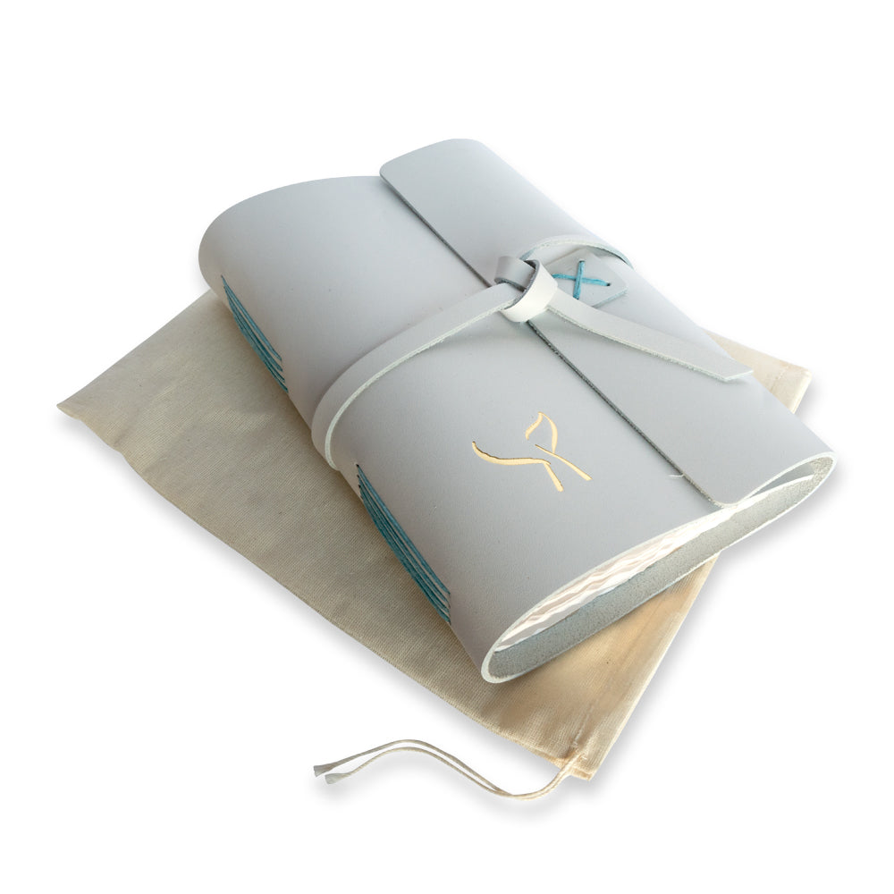 White Leather Writers Journal with Gold Whale Tail