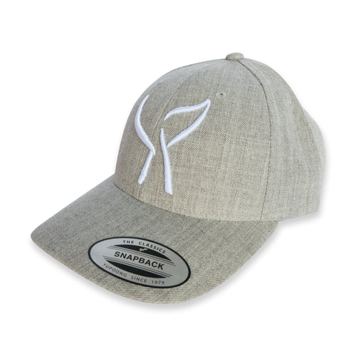 Heather Grey Hat with White Embroidered Whale Tail