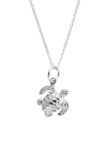 Silver Mini Sea Turtle Charm Necklace