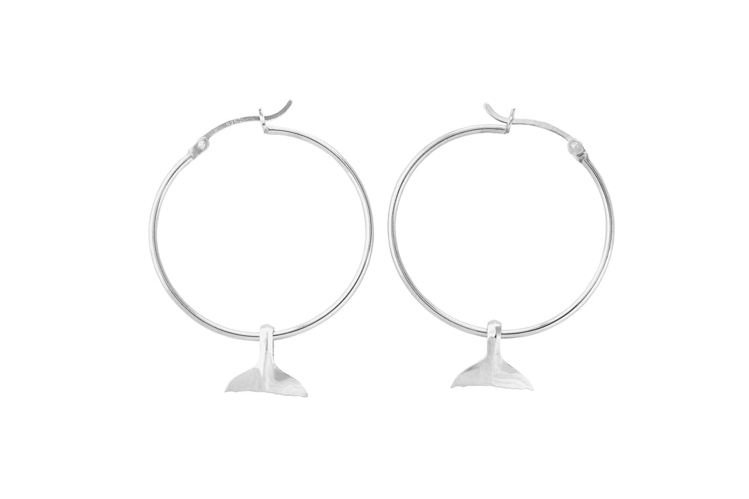 Silver Hoop Earrings with Whale Tail Charms