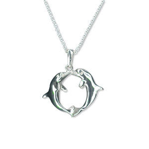Silver Kissing Dolphin Pendant Necklace