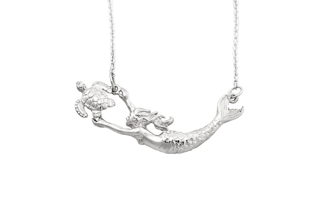 Sterling Silver Mermaid + Sea Turtle Necklace