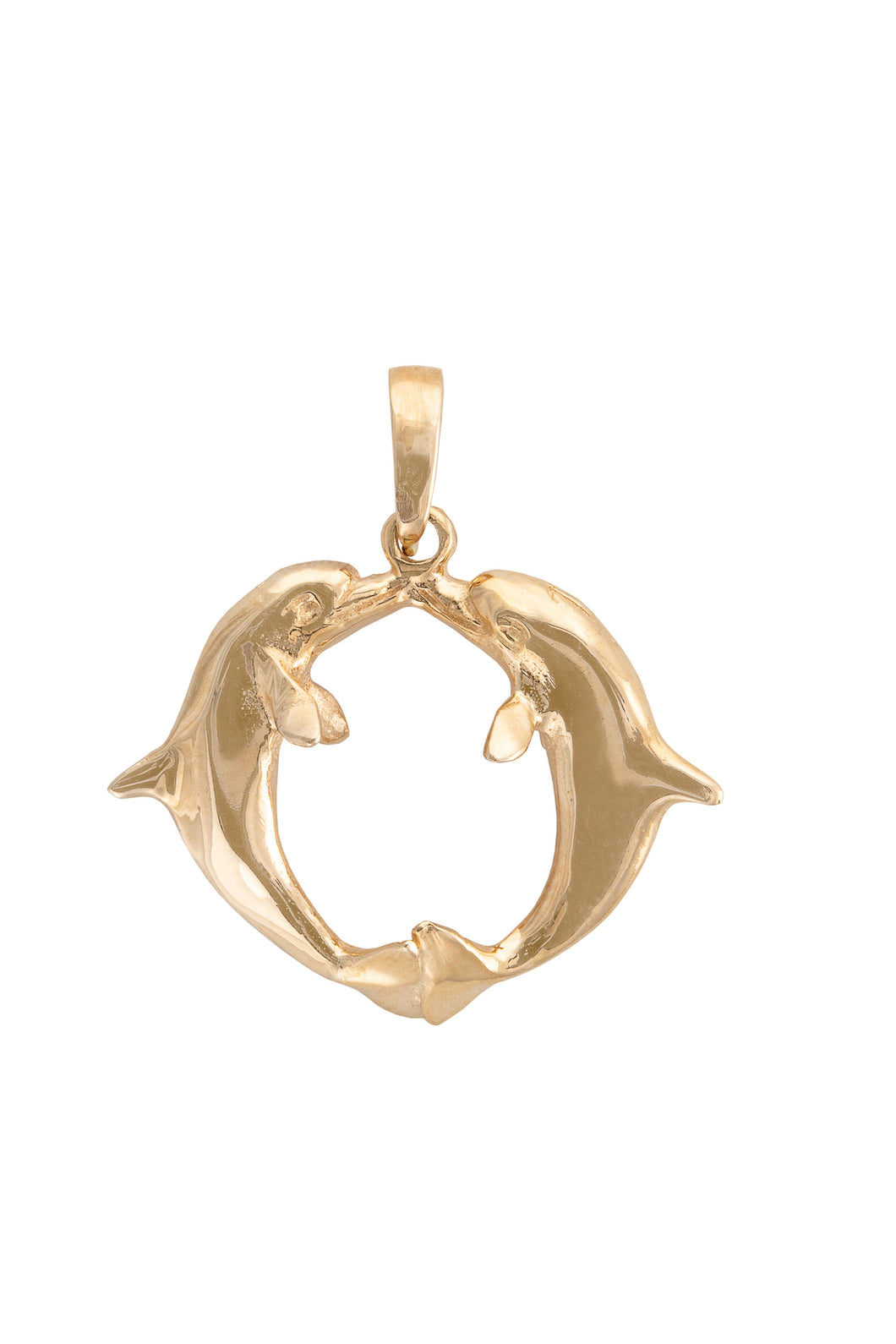 14K Gold Kissing Dolphin Pendant
