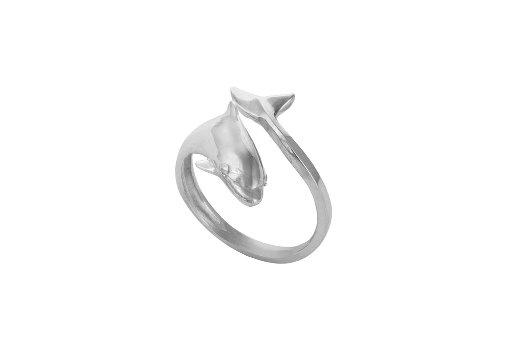 Sterling Silver Dolphin Wrap Ring