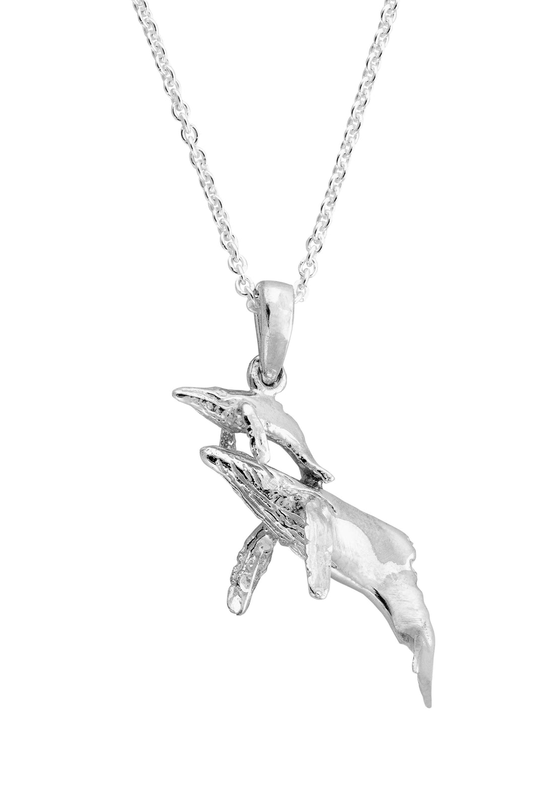 Sterling Silver Mother & Baby Whale Pendant Necklace