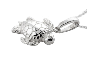 Silver Sea Turtle Charm Necklace