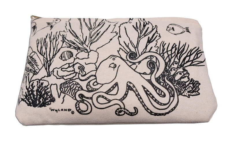 'Octopus Coral Garden' Zipper Canvas Pouch