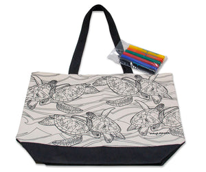 Sea Turtle Migration Cotton Canvas DIY Art Tote
