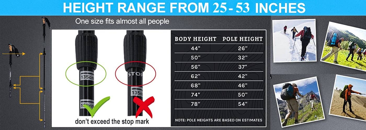 Hiking Poles Fit Length Ranging from 25- 53 In - Fit For Most People