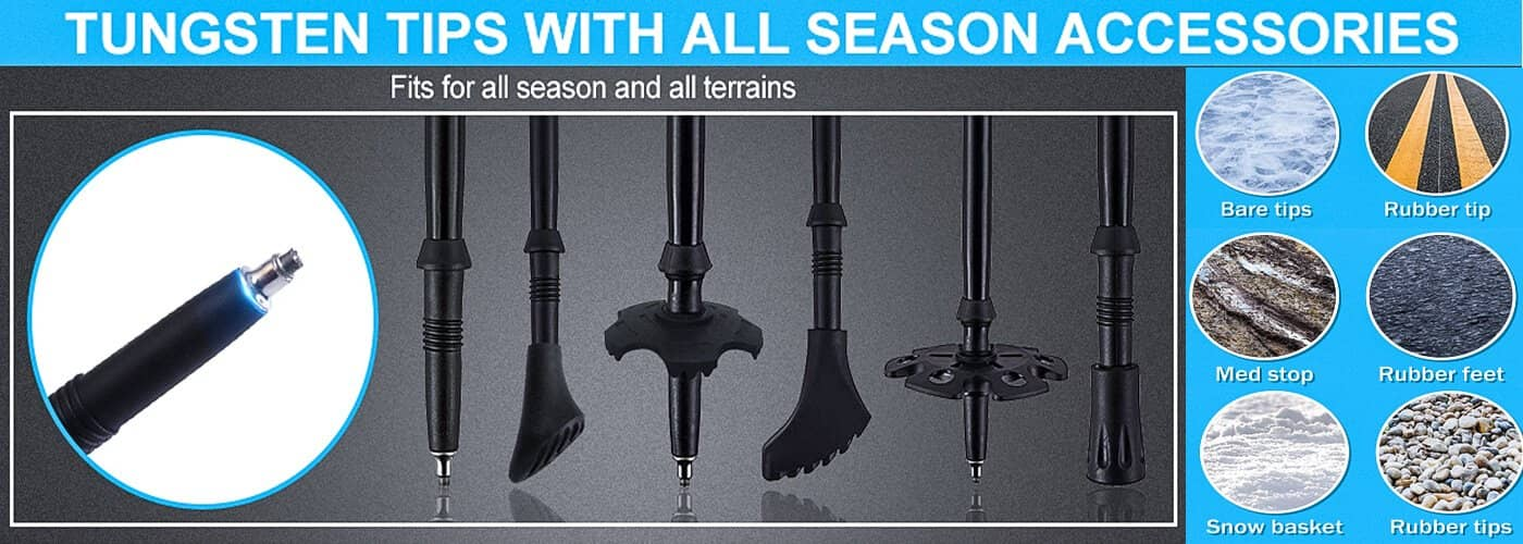 AYAMAYA poles have Strong Tungsten Tips & Multi Essential Accessories
