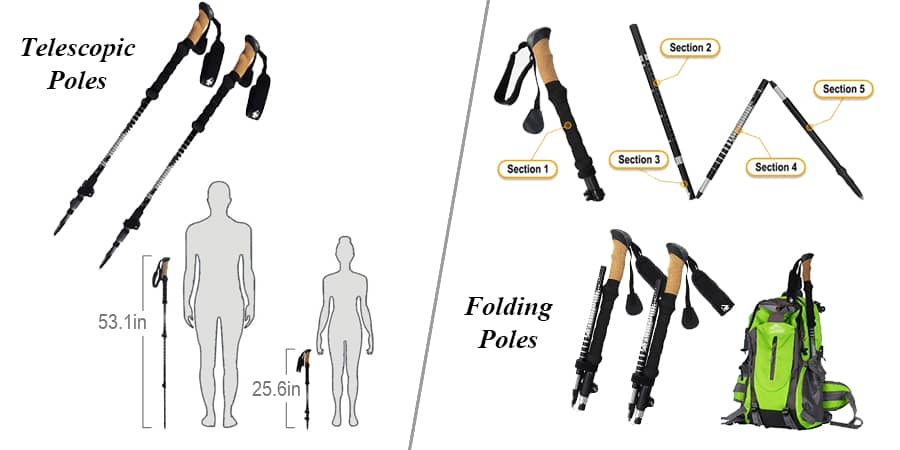 If you are sure that you will be traversing places with varying terrains, you will be doing well to pick an adjustable trekking pole that will favor all kinds of terrain.