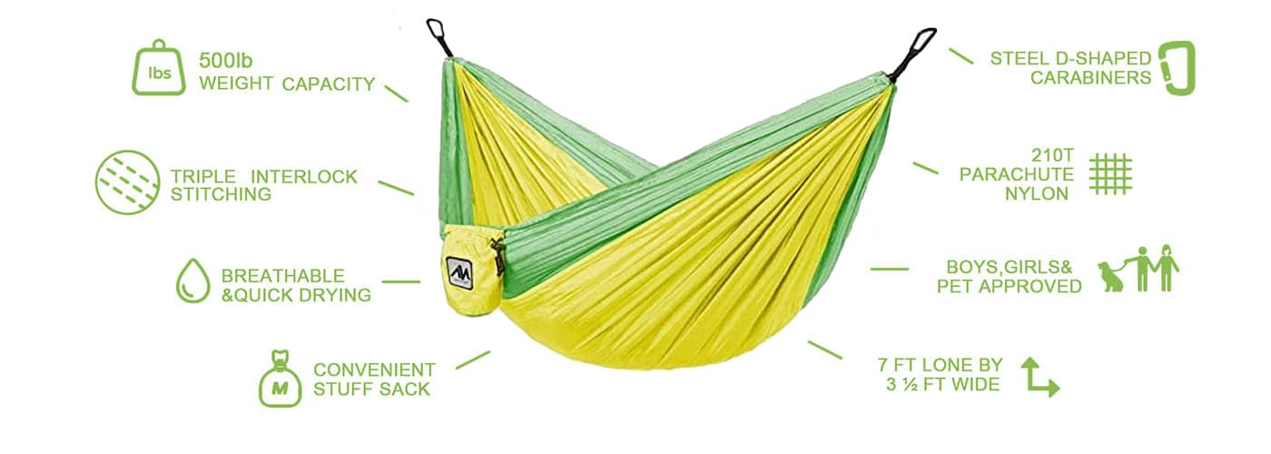Kids Hammock - 210T Nylon Fabric: Soft &Lightweight, Easy to Clean, Bearing Strong.