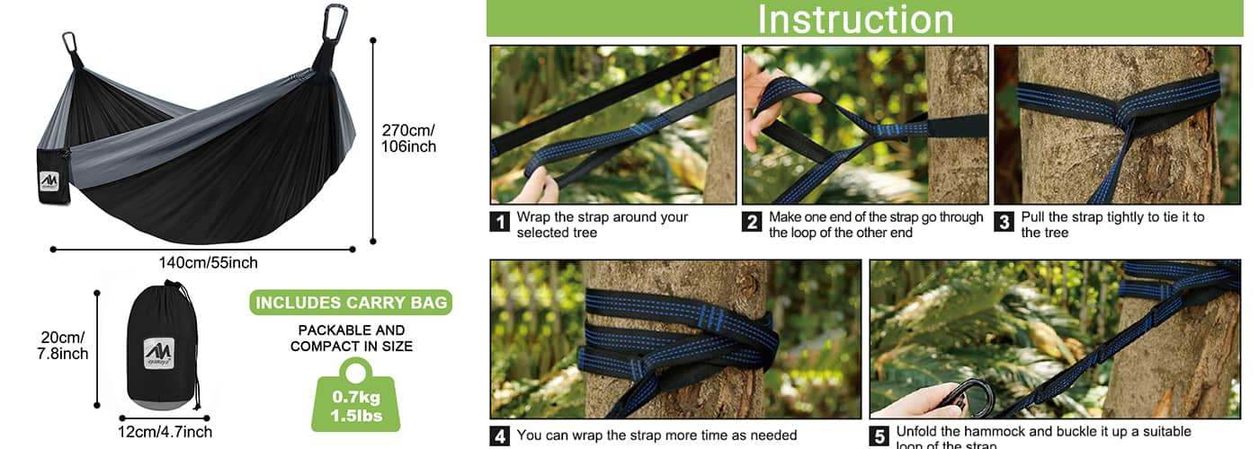 The outdoor hammock is 8.8ft x 4.5ft.  Simply take the swing down and stow it in the handy storage pouch. All the components are durable and portable.
