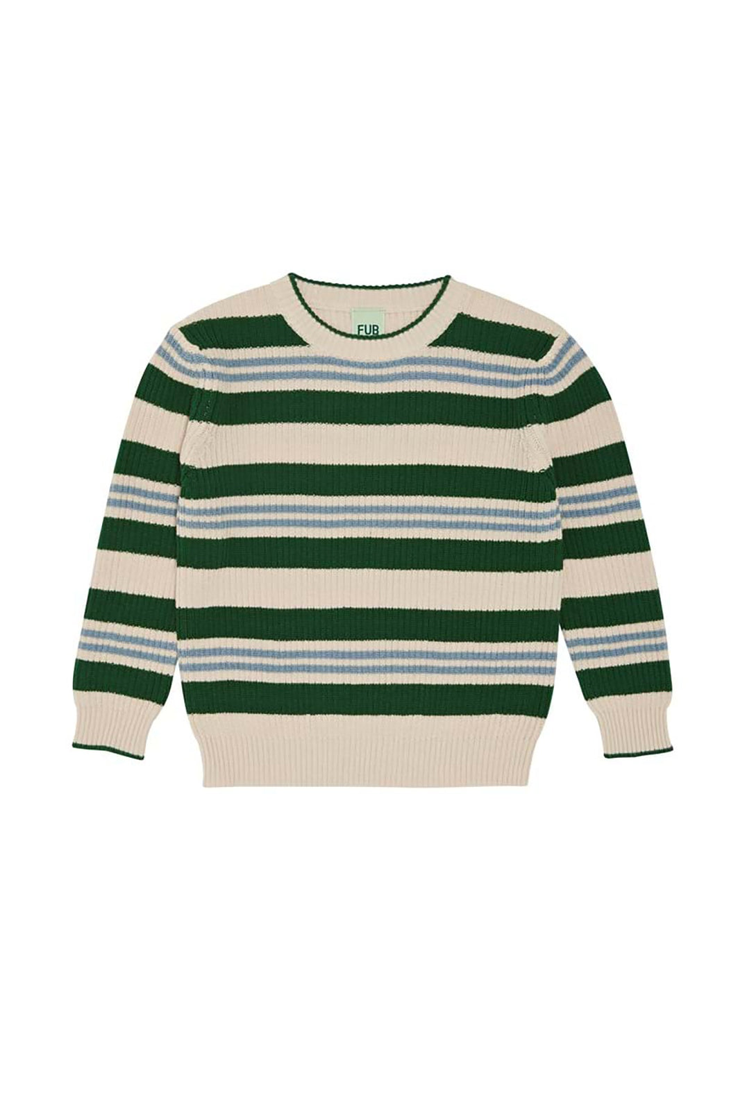 Rib Sweater - Ecru/Forest/Blue