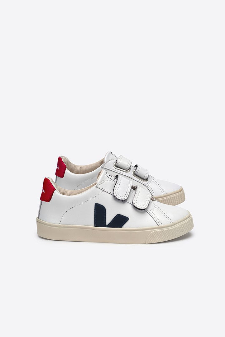 Esplar Leather White Nautico Pekin Velcro - Toddler