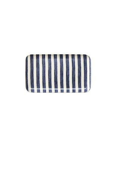 Linen Coating Tray Blue White Stripes Small
