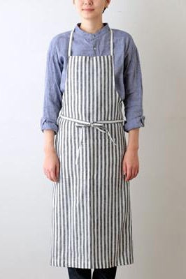 Linen Full Apron Black White Stripe