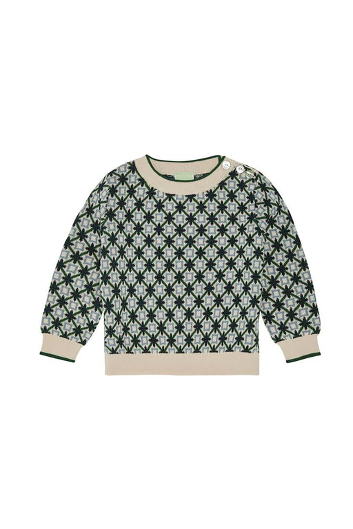 Baby Jacquard Blouse - Ecru/Forest