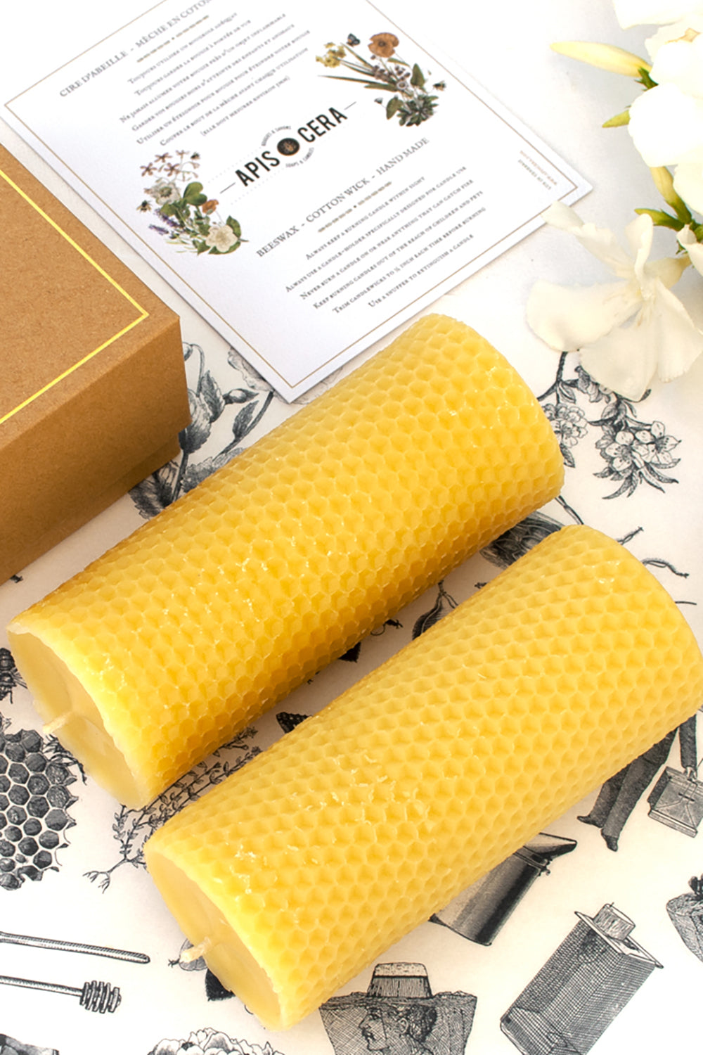 Bougies Ambroise - Box of 2 Beeswax Pillar Candles
