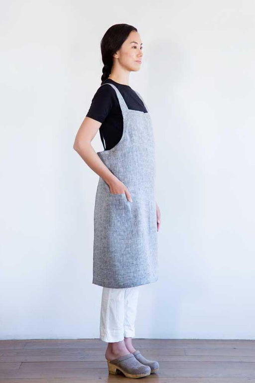 Cross Back Work Apron Herringbone Black