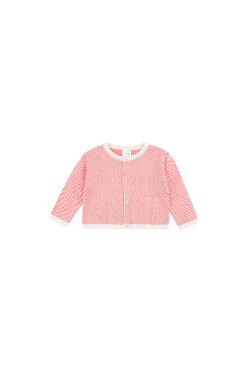 Sticks Baby Cardigan - Off-White/Red