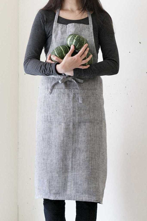 Linen Full Apron Herringbone Black