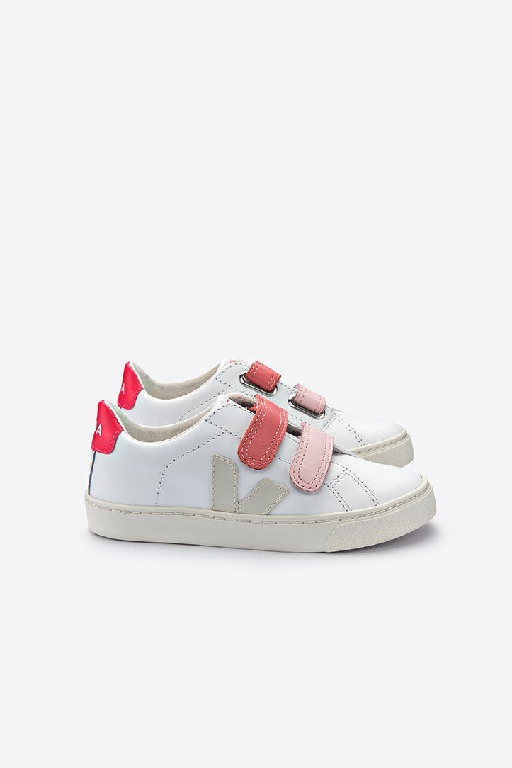 Esplar Extra White Pierre Rose Velcro - Toddler
