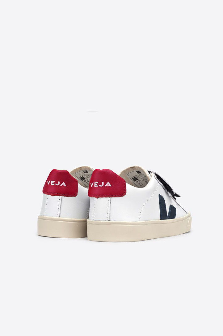 Esplar Leather White Nautico Pekin Velcro - Kids