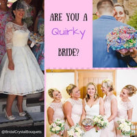 Image of a quirky bride for a quirky wedding with her vintage brooch bouquet