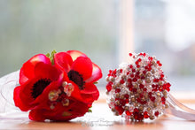 Load image into Gallery viewer, Artificial Silk Poppy Bouquet And Wedding Keepsake Real To Touch - Bridal Crystal Bouquets