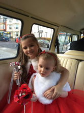 Load image into Gallery viewer, Artificial Poppy Flowergirl or Bridesmaids Bouquet Wand & Keepsake - Bridal Crystal Bouquets
