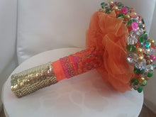 Load image into Gallery viewer, This is a side view of a Beautiful Colourful Crystal Wedding Bouquet