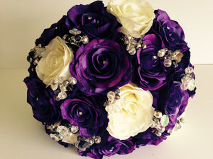 Lilac And Pink Silk Rose Keepsake Wedding Bouquet with Pearls and Crystals