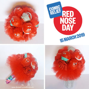 Red Nose Day 2019 Wedding Bouquet For Comic Relief - Bridal Crystal Bouquets