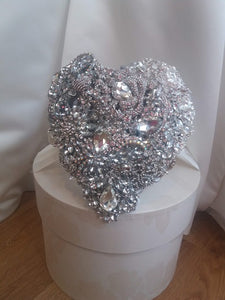 Crystal Heart Silver Brooch Bouquet For a Wedding in stock
