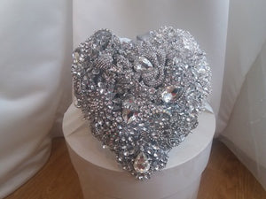 This is an image of the front of our Crystal Heart Silver Brooch Bouquet For a Wedding