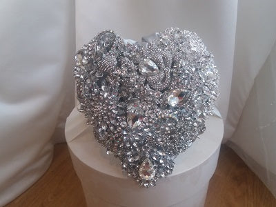 Crystal Heart Silver Brooch Bouquet For Your Wedding-NEW - Bridal Crystal Bouquets