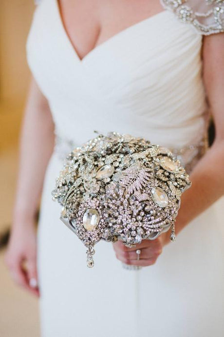 Sparkly Silver Classic Crystal Brooch Wedding Bouquet - Bridal Crystal Bouquets