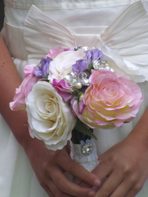 Bridesmaids Silk Rose Keepsake Wedding Bouquet with Pearls and Crystals - Bridal Crystal Bouquets