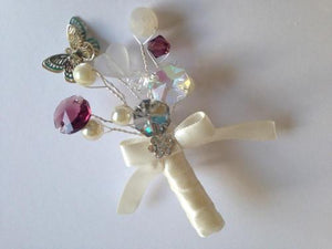 Ellie Sparkly Butterfly Crystal Wedding Buttonhole For Your Groom - Bridal Crystal Bouquets