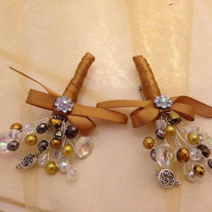 Ellie Sparkly Crystal Wedding Buttonhole & Ladies Corsage - Bridal Crystal Bouquets
