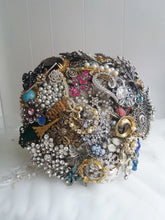 Load image into Gallery viewer, This is an image of the front view of our Fabulous Emma Vintage Wedding Brooch Bouquet by Bridal Crystal Bouquets