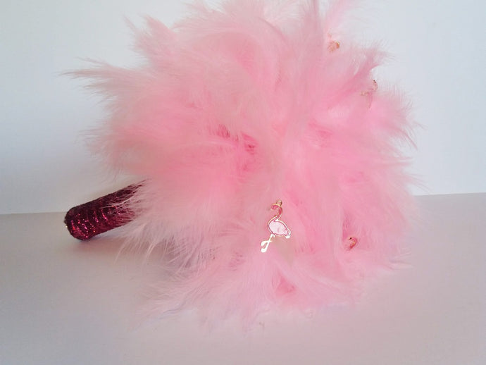 Pink Feather Flamingo bridesmaids wedding bouquet, alternative fun bridal bouquet