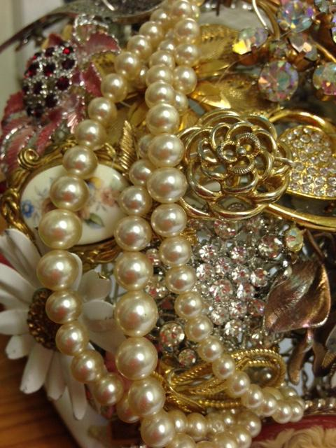 Gemma Gold Vintage Brooch Wedding Bouquet, Your Dream Bouquet! - Bridal Crystal Bouquets