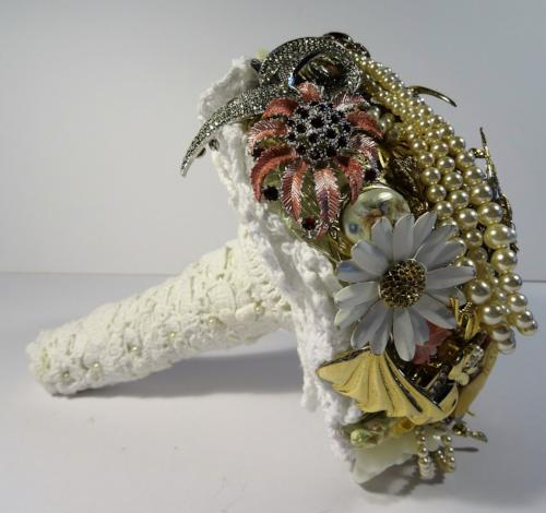 Gemma Gold Vintage Brooch Wedding Bouquet - Bridal Crystal Bouquets