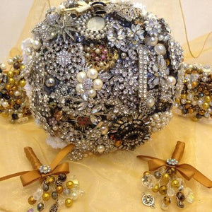Gemma Silver Vintage Brooch Wedding Bouquet - Bridal Crystal Bouquets