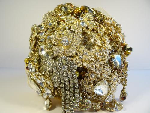 Exquisite Sparkly Gold Brooch Bouquet - Bridal Crystal Bouquets